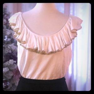 Ralph Lauren rayon ruffled sweater- cream and gold